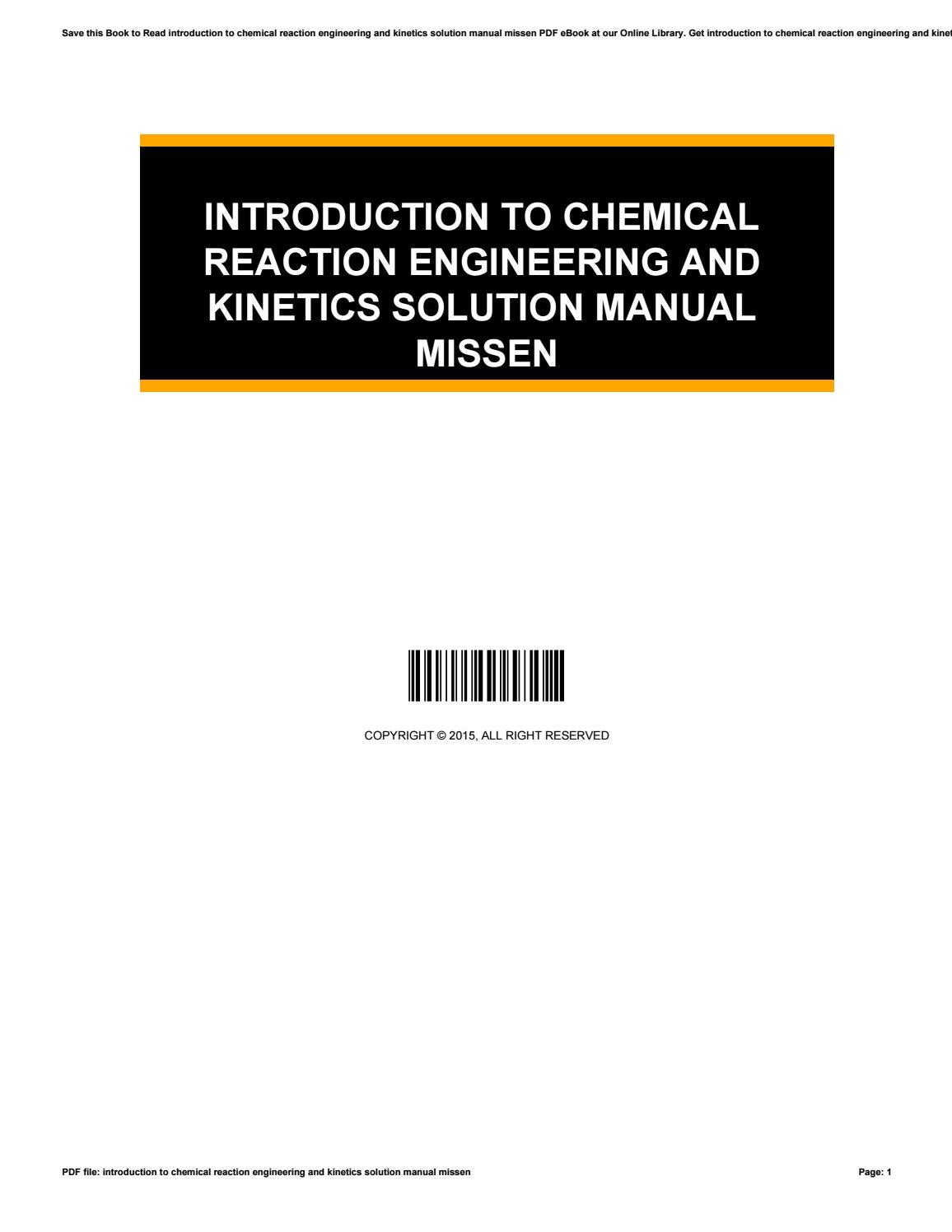 chemical kinetics and reaction dynamics solution manual pdf