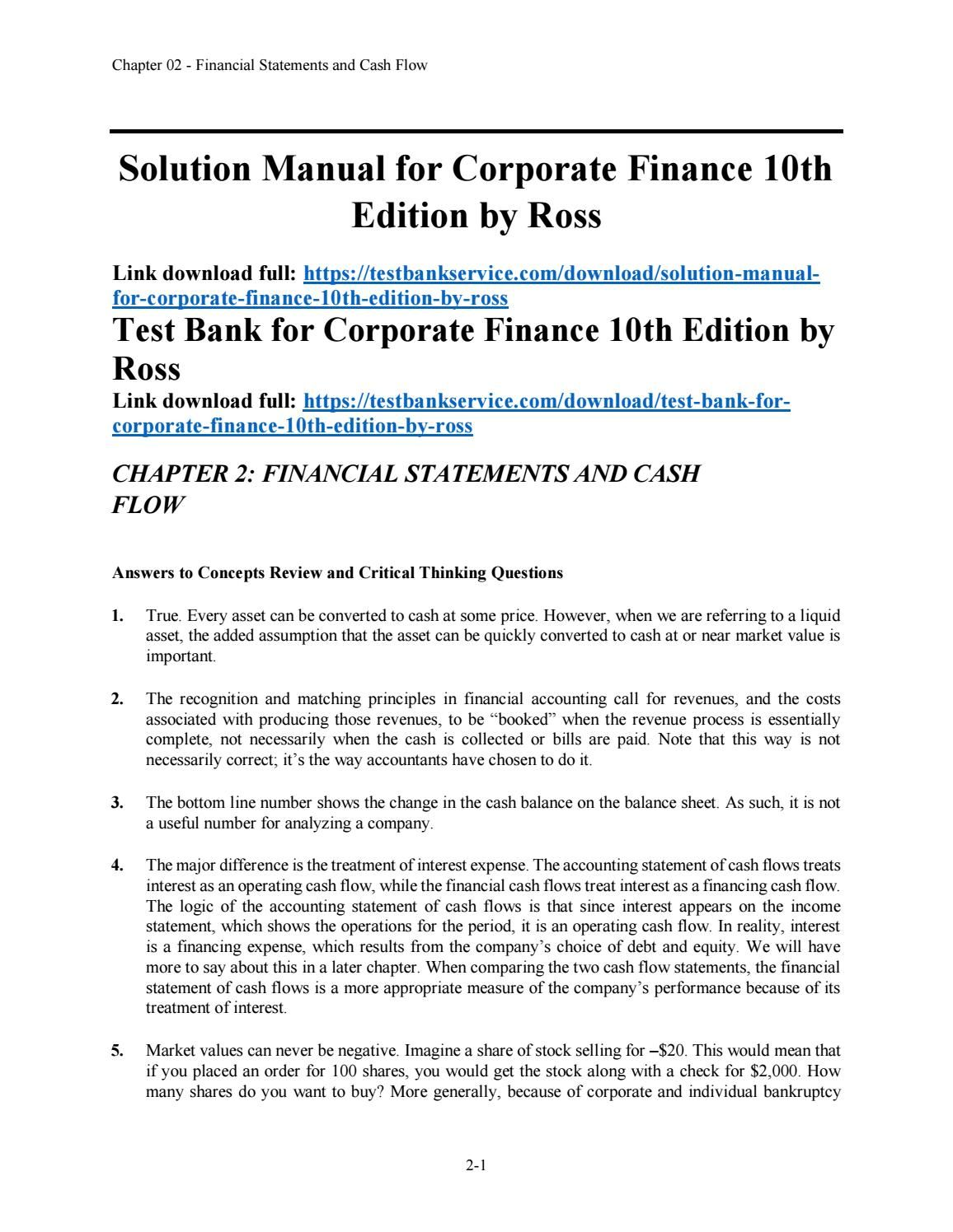 solution manual for corporate finance breadly 10th edition
