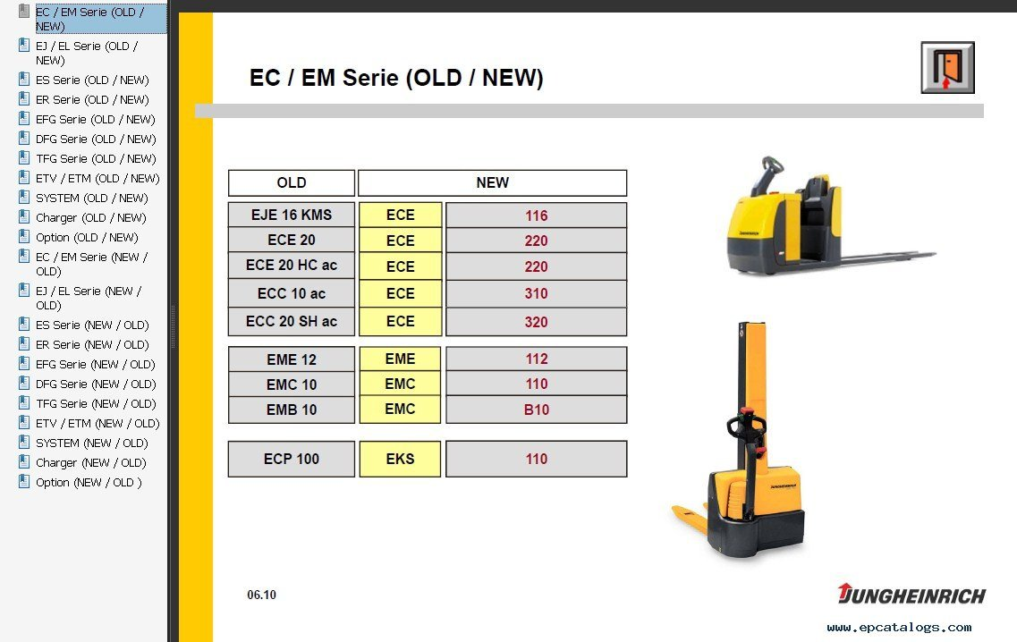 jungheinrich emc b10 parts manual
