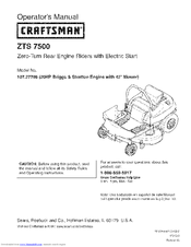 craftsman zts 7500 parts manual