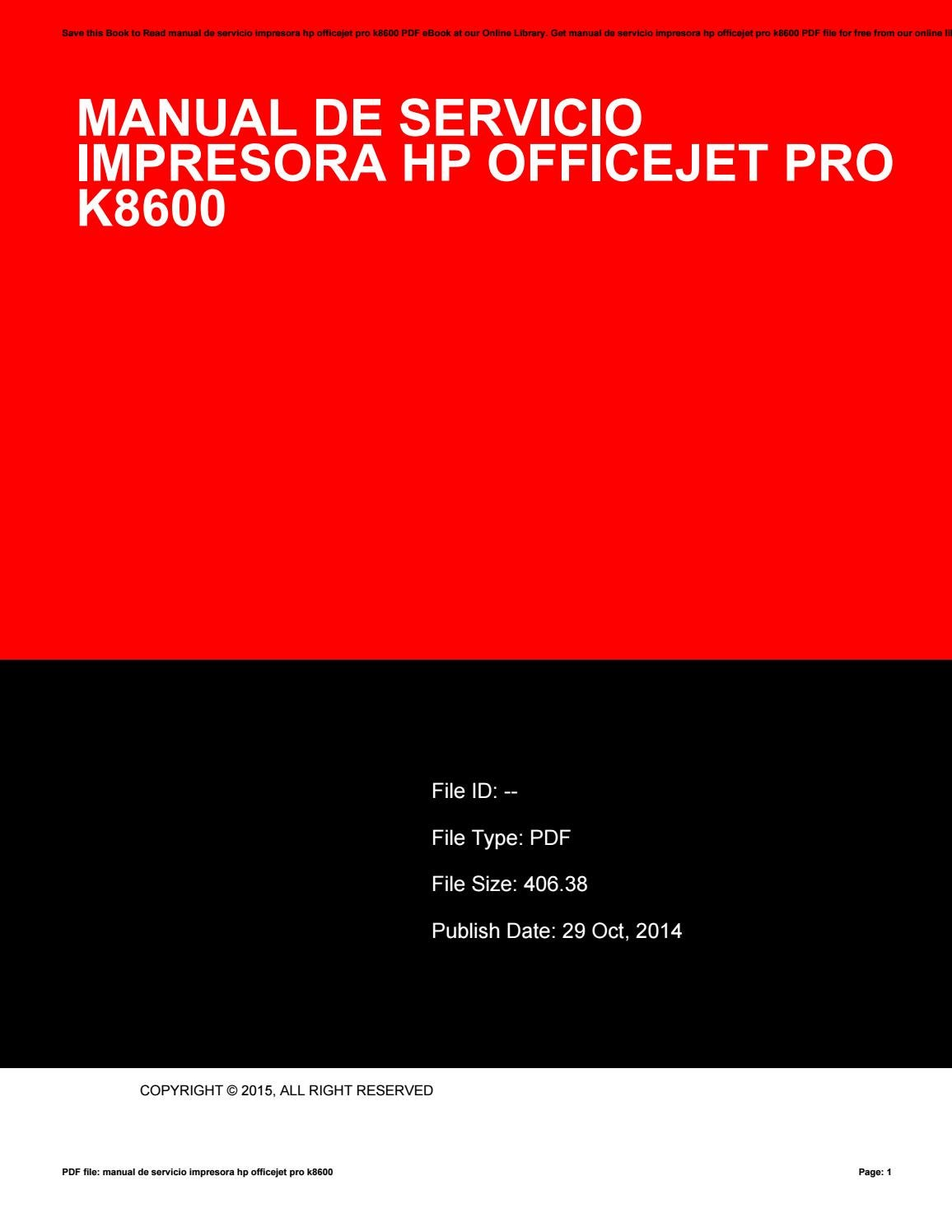 hp officejet pro k8600 troubleshooting manual
