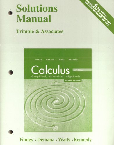 calculus finney demana solutions manual